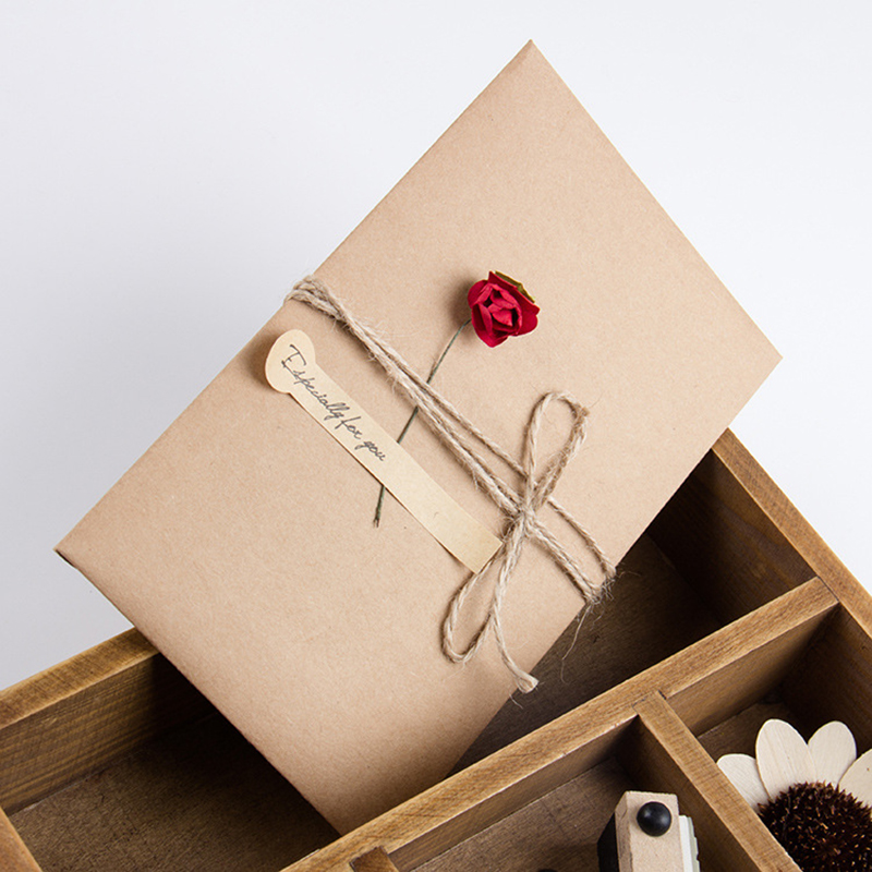 10pcs 7Style Flower DIY Retro Kraft Paper Envelope Hand Dry Flower Greeting Card Wedding Invitations Envelopes Greeting Card retro hollow kraft paper greeting card creative business gift card father s mothers day blessing card wedding cards 10pcs pack