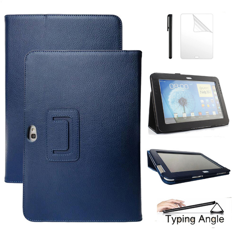 PU Leather Stand <font><b>Case</b></font> for Samsung Galaxy Note 10.1 <font><b>N8000</b></font> N8010 N8020 Smart Stand Funda Cover Protective Shell <font><b>Case</b></font>+Film+Pen image