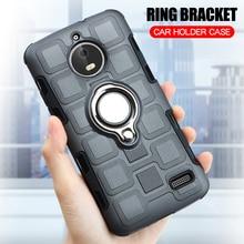 все цены на Cover For Motorola Moto E4 Plus Silicone Shockproof Phone Case For Motorola E4 E4 Plus Luxury Armor Back Cover Ring Stand Case онлайн