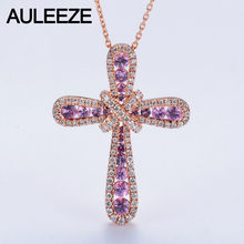 Luxury 1.1cttw Real Pink Sapphire Accents Pendant Necklace Natural Genuine Diamond Cross Design 14K Rose Gold Pendant 18′ Chain