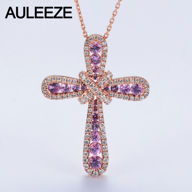 Luxury 11cttw real pink sapphire accents pendant necklace natural luxury 11cttw real pink sapphire accents pendant necklace natural genuine diamond cross design 14k rose aloadofball Image collections