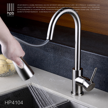 цена на Modern Brushed Nickel and Chrome Finish Hot and Cold Kitchen Faucet Pull Out Single Handle Swivel Spout Vessel Sink Mixer Tap