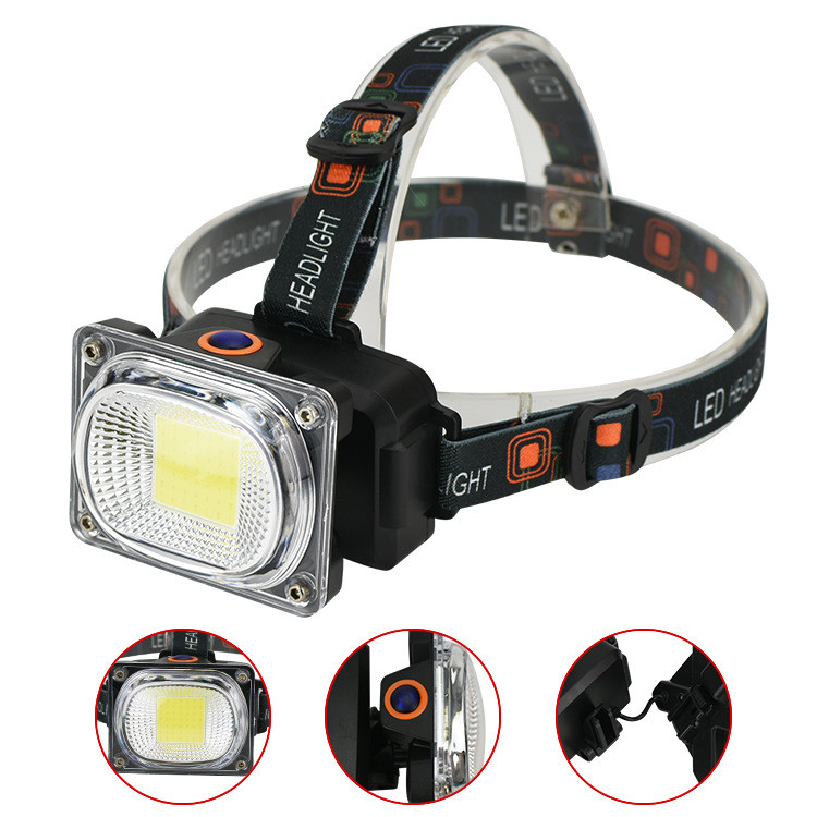 Portable Lighting Mingray Led Usb Rechargeable Headlight Lithium Cob Headlamp Battery Plastic Flashlight On Head For Camping Head Light Head Lamp Lights & Lighting