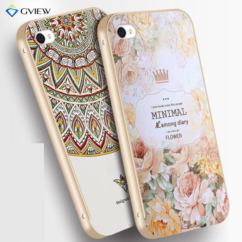 3D Emboss Metal Frame Case For Iphone 4s With Designer Aesthetic Print Protective Hard Back Cover Scratch-Resistant Perfect Fit