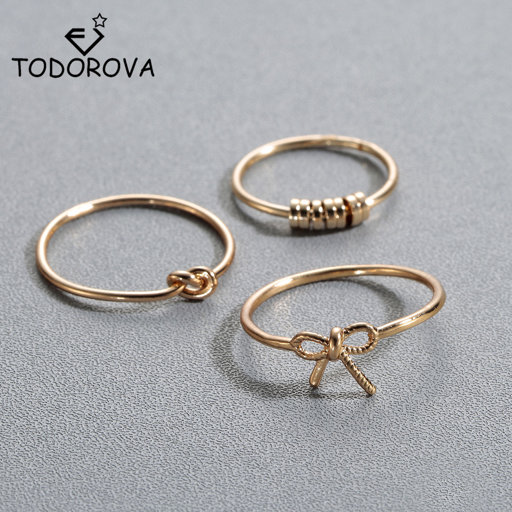 Todorova Knot Bowknot Toe Ring Set for Women Retro Knuckle Rings Party Jewelry Accessories Anillos Beach Foot Rings Lady Gift