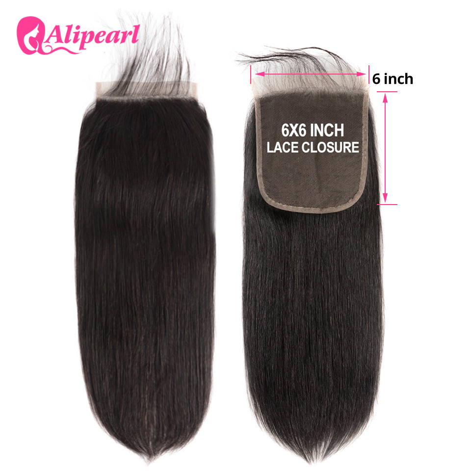 AliPearl Hair Straight 6x6 Closure Human Hair Lace With Baby Hair Closure Swiss Lace Natural Color 8''-20'' Brazilian Remy Hair