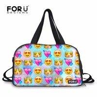 FORUDESIGNS Gym Bag Sport Bags for Women Fitness Yoga Mat Bag Funny Emoji 3D Design Outdoor Training Athletic Shoulder Bag Bolsa