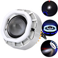 Motorcycle LED Hi/Lo Beam Lights 1200LM 12W Projector Lens Headlight Assembly Angel & Devil Eye Cafe Racer