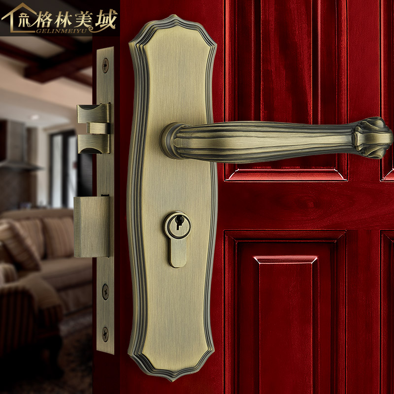 Pure copper door lock Chinese green bronze European interior interior door lock full copper lock villa door lock ceramic lock the door when indoor european ball lock hold hand lock copper core ss