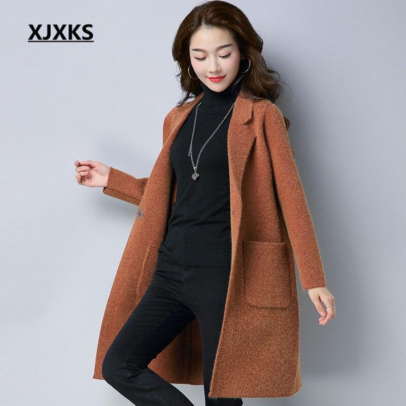 XJXKS Casual Women Woolen Coat Autumn And Winter Wool Blend Knitted Single Button Pockets Women s