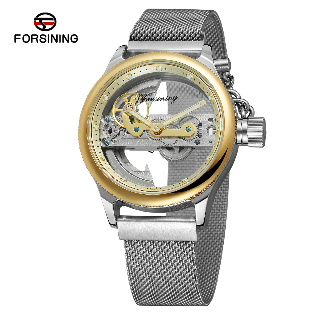 2018 Forsining Men s Watch Unique Newest Design Automatic Self Wind Skeleton Stainless Steel Bracelet Vogue