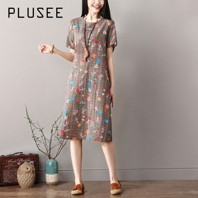 4af776eccc4b Plusee Dress Plus Size 2XL Women 2018 Summer Indie Folk A-Line Pullover  Round Neck Floral Print Knee-Length Girl Oversize Dress