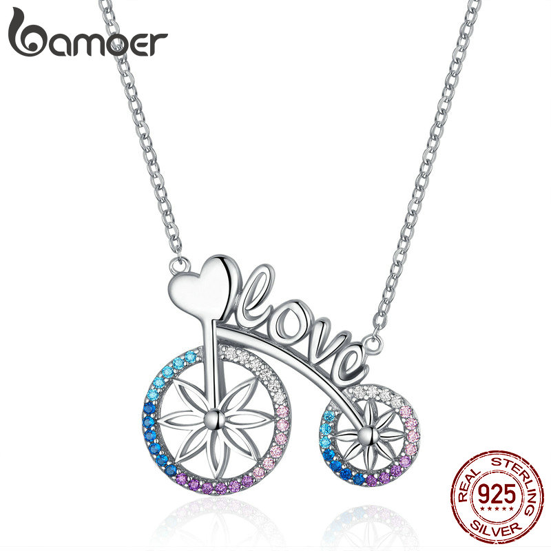 bamoer Romantic Love Bicycle Bike Necklace for Women Valentine's Gift 925 Sterling Silver Chain Short Necklaces Jewelry SCN336-in Pendant Necklaces from Jewelry & Accessories