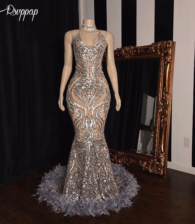 Sparkly Sexy Mermaid V-neck Long   Prom     Dresses   2019 Silver Sequin Luxury Feather African Black Girls Women   Prom   Gowns   Dress