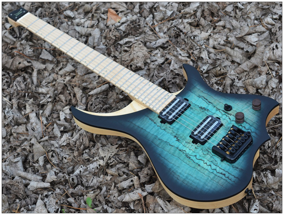 Headless Electric Guitar style Model blue burst spalted curly maple top Flame maple Neck in stock free shipping|Guitar| - AliExpress