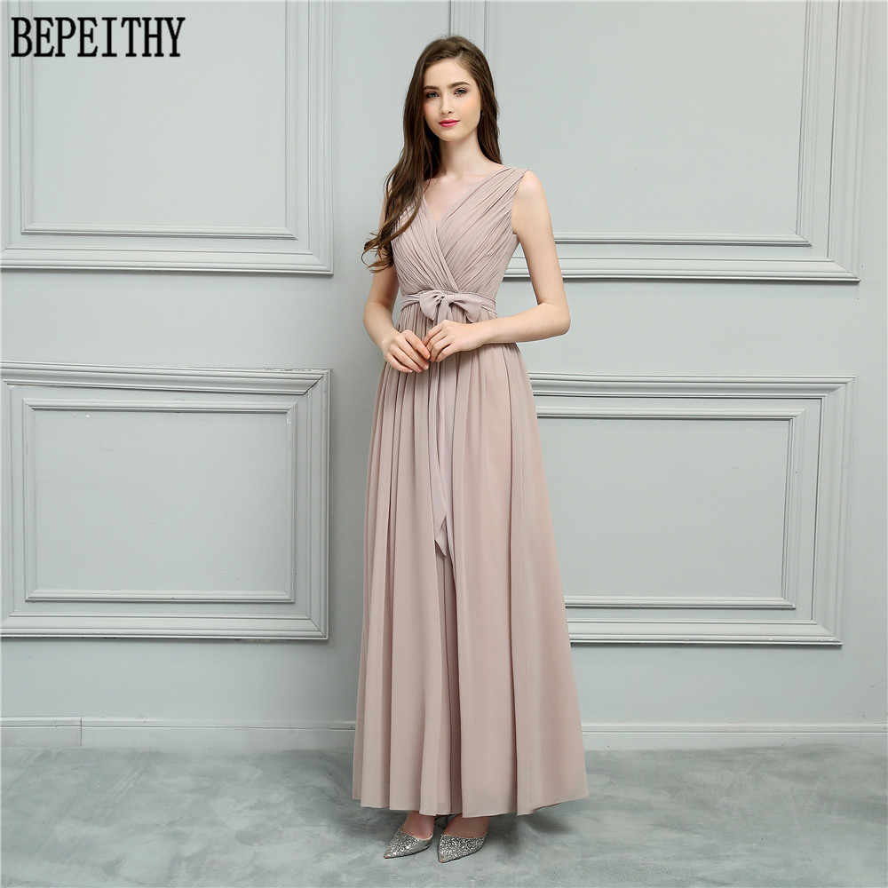 BEPEITHY Vestido De Festa Longo New Design V-Neck Belt Pleats Chiffon A-Line Prom Dresses Long Bridesmaid Dresses 2018