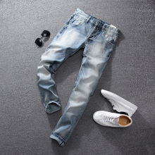 Summer Light Blue Color Fashion Mens Jeans High Quality Slim Fit Ripped Jeans For Men Brand Clothing Italian Style Stretch Jeans все цены