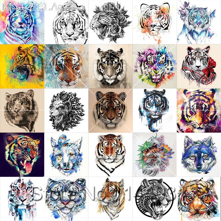 MYCELLA 3D Diy Diamond Painting Animal Cross Stitch 5D Diamond Embroidery Tigers Square Full Kits Diamond Mosaic in Diamond Painting Cross Stitch from Home Garden