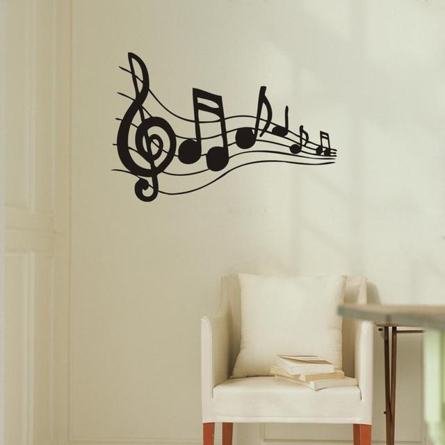 Opmerking Muziek Wall Art Muurstickers Zwart Muziek Decal Slaapkamer ...