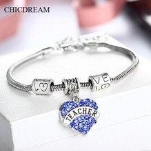 CHICDREAM Teachers Day Gift Fashion Heart Shape Pendant European Luxury Bracelet Bangle For Women Student,Charm Teacher Bracelet