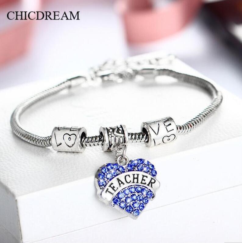 Teachers Day Gift Fashion Heart Love Bracelets Pendant European Luxury Bracelet Bangle Women Student Charm Teacher
