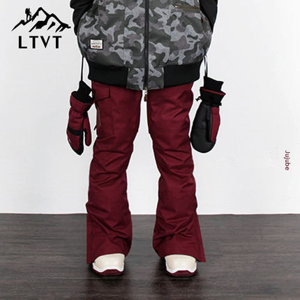 LTVT Couple Winter Ski Pants Single Board Double Pants Multi-Color Quilted Warm Waterproof Thick Men /Women Ski Pants