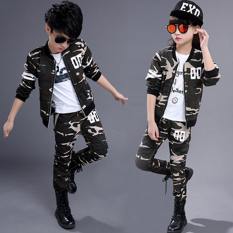 Fashion Children girls clothing sets autumn boys spring camouflage clothes sport suits 2Pcs school kids tracksuit 4~14T JM17