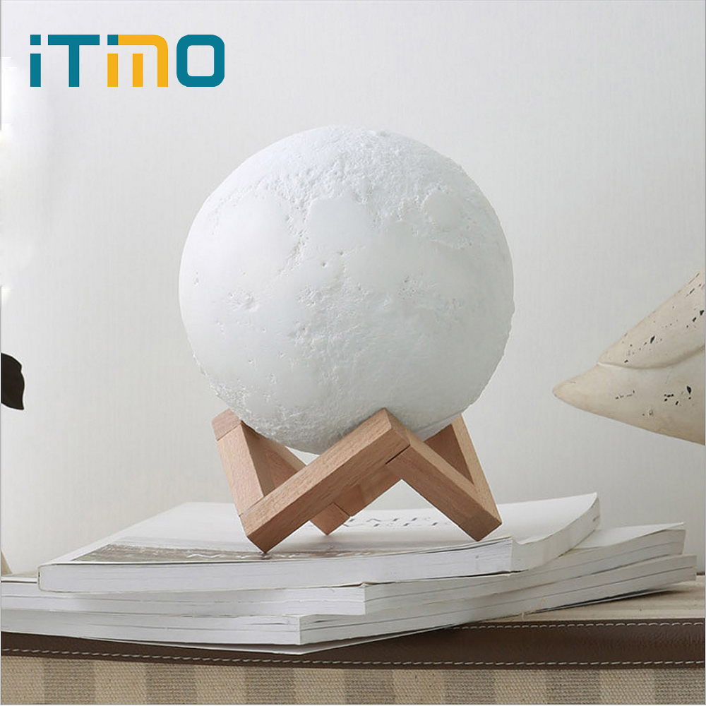 iTimo Touch Switch Moon Lamp USB LED Night Light With Wood Holder Home Decor Rechargeable Moon Light Creative Gift Dia 12CM moon flac wood