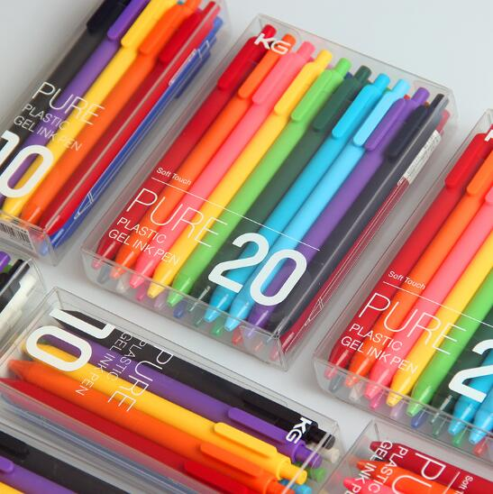 20 colores/caja KACO PURE Kawaii Candy Color Gel Pen 0,5mm Click Neutural bolígrafos para niños estudiante papelería escolar suministros