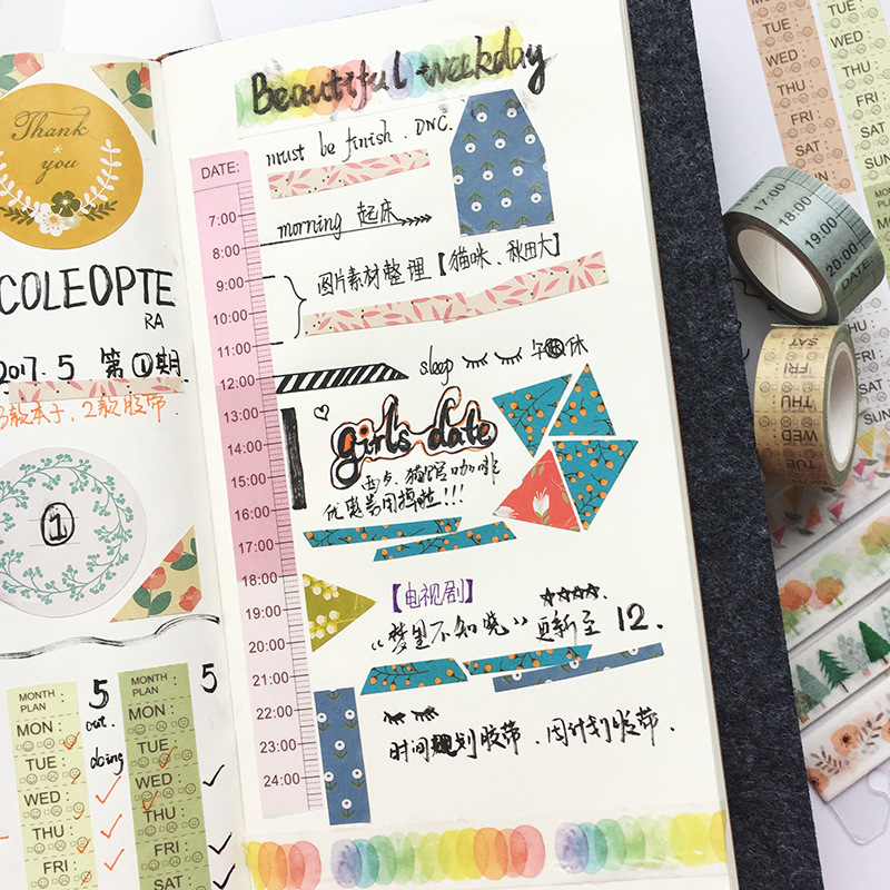 Schedule Planning Sticker Tape Time Line And Weekly Plan Washi Tape Notebook Diary Planner Diy Accessories Korean Stationery plan