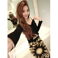 2017 Sexy Set Dress Two Piece Set Fashion Women Exposed Umbilical Exposed Shoulder Elastic Tops And