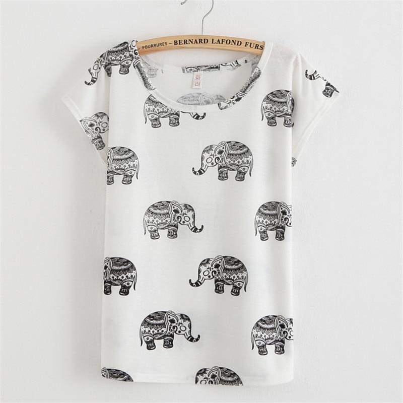 Tops tees creative design elephant print t shirt women for Elephant t shirt women s
