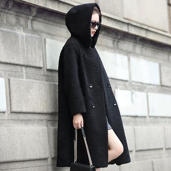 Натуральная Овечья шерсть пальто для женщин пояса из натуральной кожи с капюшоном двусторонний двойной одежда dx0012