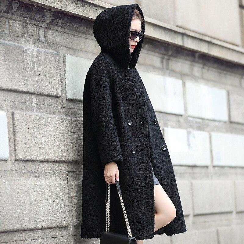 Real Sheepskin Shearling Coat for Women Genuine Leather Shearling Coat with Hood Reversible Double Wear dx0012