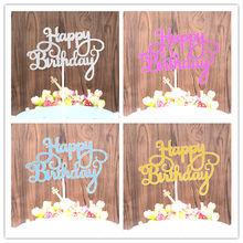 SUEF 1/5/pcs Shining Happy Birthday Cake Topper for a Cake Gold Gillter Cake Flag for Family Birthday Party Baking @6(China)