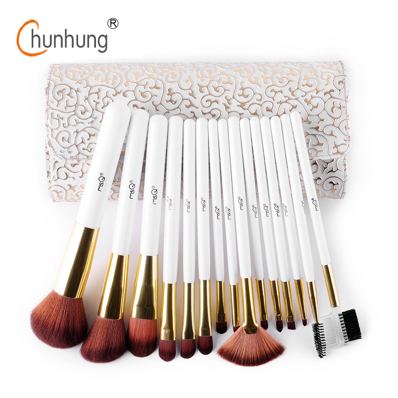 MSQ Professional Makeup Brushes Set 15pcs/set Top Quality Makeup Set Fashion Make Up Brushes Tool For Beauty Cosmetic Brushes msq 5pcs travel make up brushes high quality synthetic brushes for make up with fashion pink bag