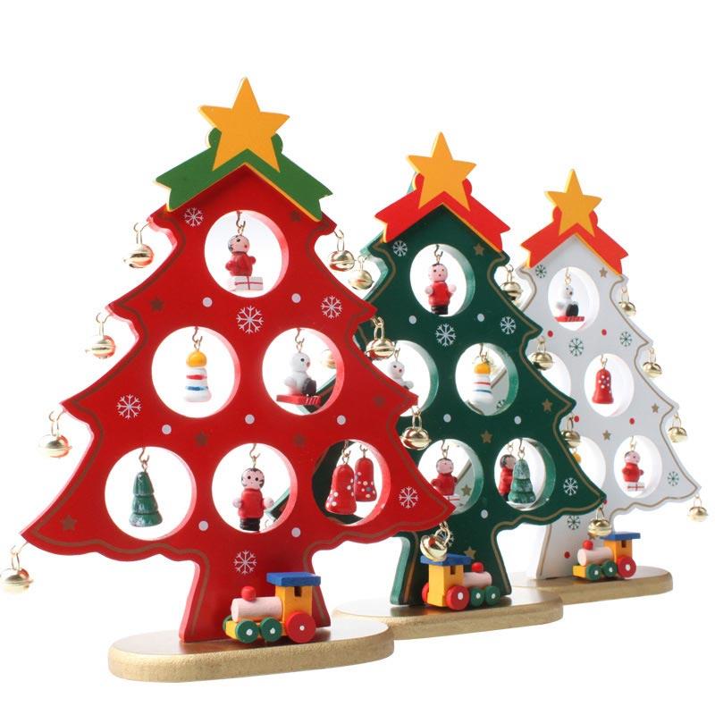 Christmas Tree 22cm DIY Wooden Table Desk Ornaments Festival Party Xmas Decor Hogard