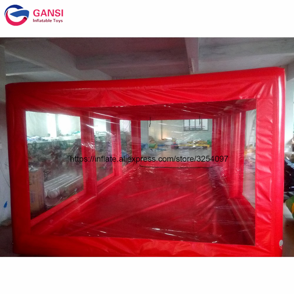 Free air pump red inflatable car cover showcase garage tent, Inflatable Car Capsule for spray booth painting