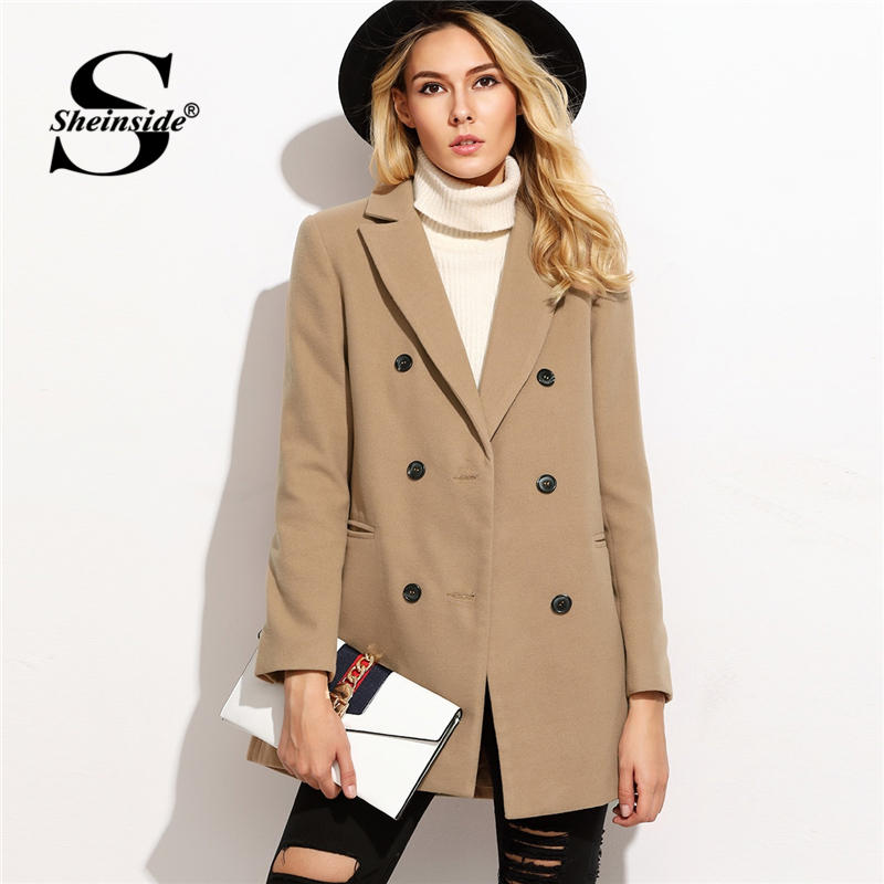 Sheinside Pink Camel Notched Pea Coat Women Casual Outerwear Womens Autumn 2018 Double Breasted Ladies Coats