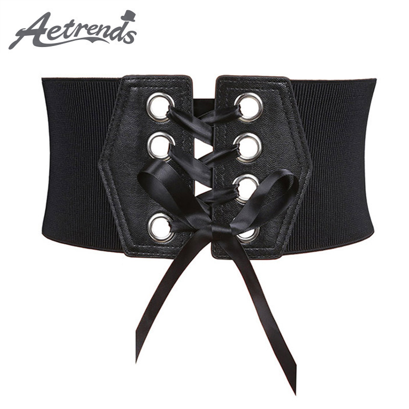 [AETRENDS] Women's Black Ribbon Lace-Up Elastic Cinch Belt PU Leather Wide Belts For Woman Fashion Slim Cummerbunds D-0111