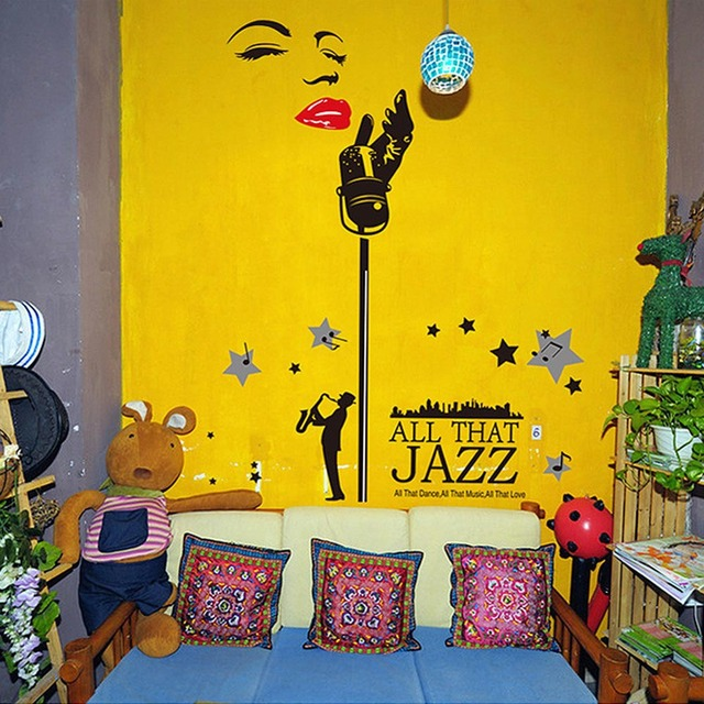 60 * 90cm Removable Wall Decal Sticker Jazz Music DIY Wallpaper Art ...