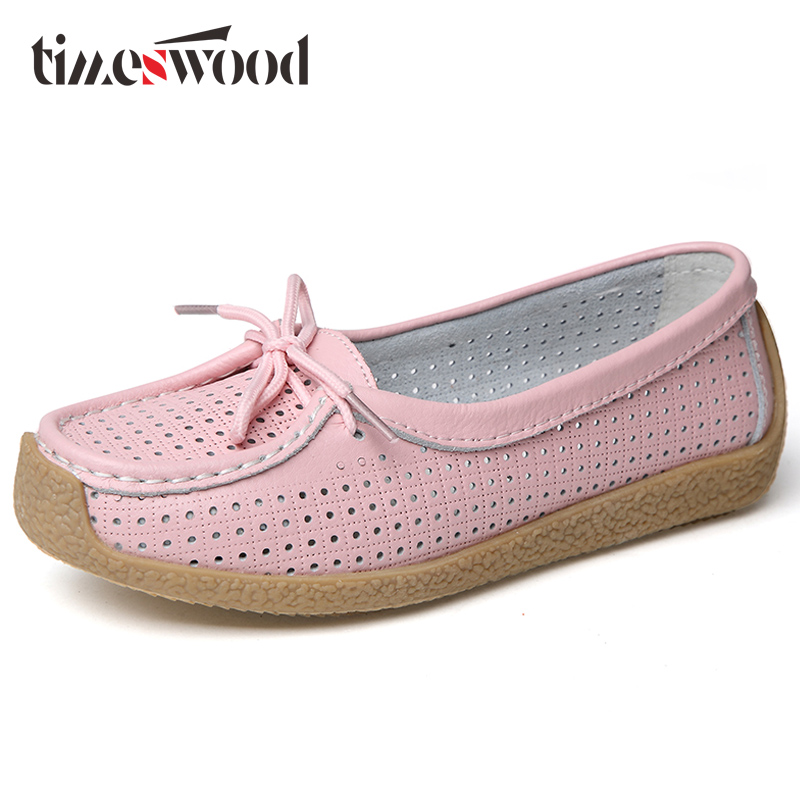 2018 Summer Women Ballet Flat Shoes Casual Shoe Woman   Leather     Suede   Cutout Lace up Loafer Shoes Ladies Ballerina Flats Boat Shoe