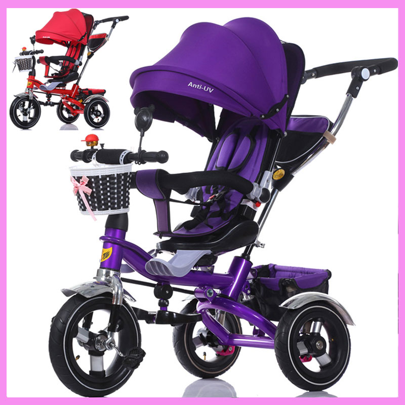 3 In 1 Foldable Children Tricycle Bike Baby Carriage Trolley Baby Stroller Pram Pushchair 3 Wheels Folding Baby Buggies 6M~6Y children tricycle folding baby carriage baby bike 1 3 5 year old child bike baby trolley