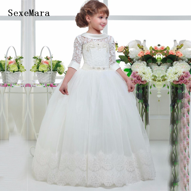 New White/Ivory First Communion Dresses For Girls Appliques Lace Birthday Gown Girls Dress For Wedding Vestidos Comunion Ninas