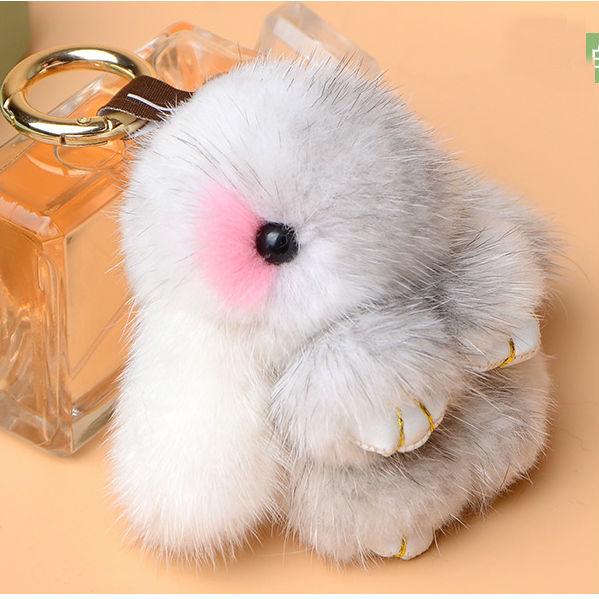 Luxury Cute Bunny Plush Fur Pom Pom Fluffy Real Mink Fur Mini Rabbit Keychain Fur Key Chain Women Bag Charms Accessary Pendant