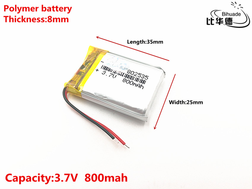 Good Qulity 3.7V,800mAH,802535 Polymer lithium ion / Li-ion battery for TOY,POWER BANK,GPS, mini mobile 1800mah lithium polymer power bank w keychain gold href