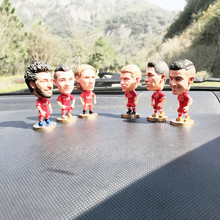 Car decoration Italian football league Salah statue Messi toy doll car interior