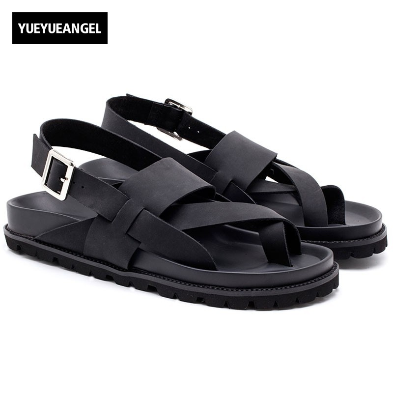 Top Quality Mens Cross Straps Buckle Beach Sandals Antiskid Platform Genuine Leather Gladiator Classic Male Casual Shoes Black genuine leather mens casual sapatos shoes cross straps male runway sandals roman summer shoes flats 2018 man fashion leather