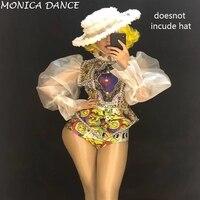 Женская сексуальная сценическая Золотая Цветочная кружевная боди сексуальная прозрачная сетчатая волоконная костюм сценическая танцевал