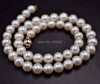 Stunning luster 9mm near round white freshwater pearl necklace ball 14KG clasp